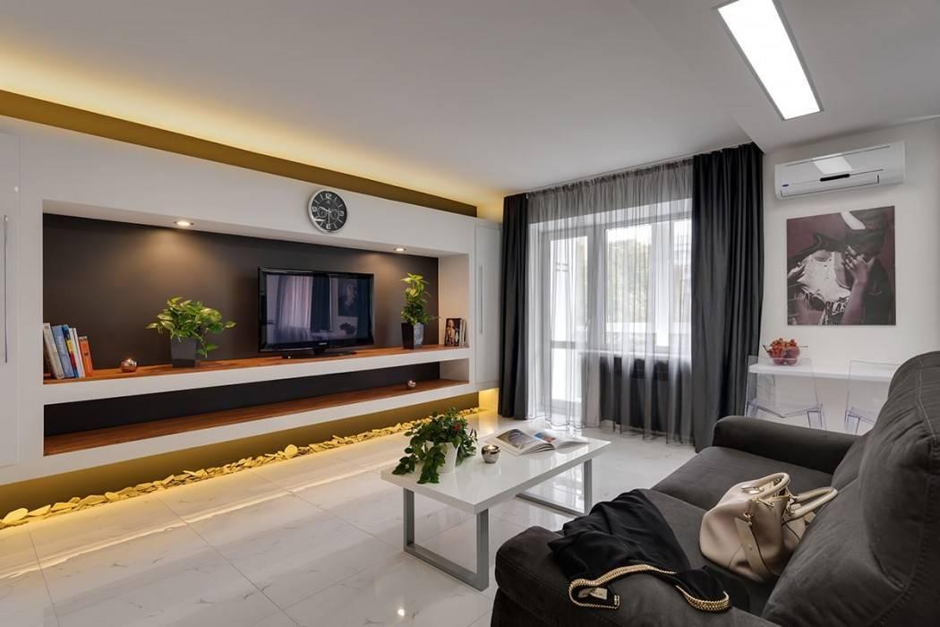 Дизайн стены с телевизором в гостиной (52 фото): как оформить стену, на какой высоте от пола вешать телевизор, идеи оформления