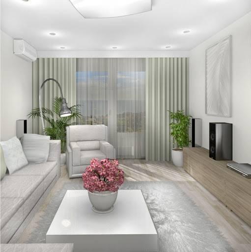 Гостиная комната 18 кв. м: дизайн в современном стиле, интерьер, реальные фото в хрущевке в двухкомнатной квартире, панельном доме, прямоугольной формы с балконом