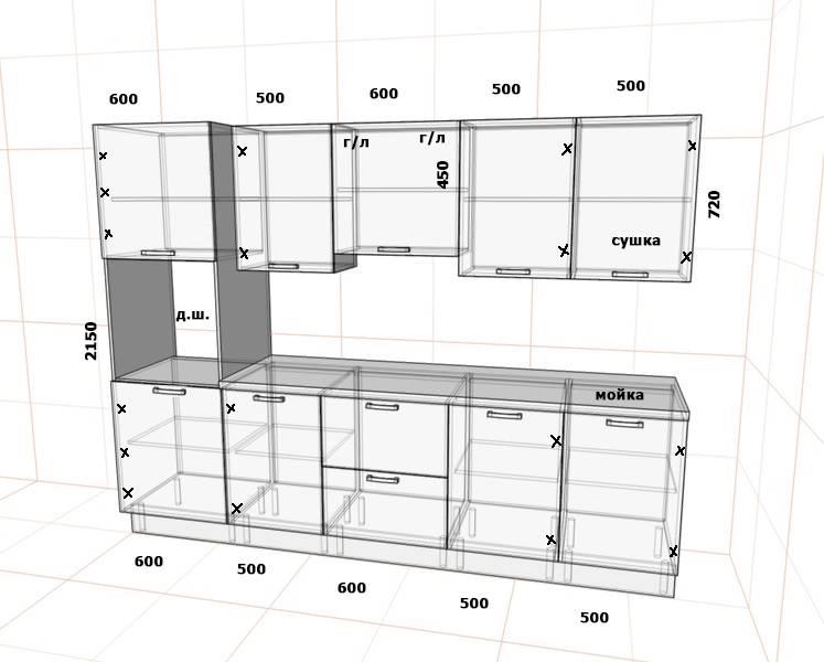 Высота подвесных шкафов на кухне: до потолка или нет?