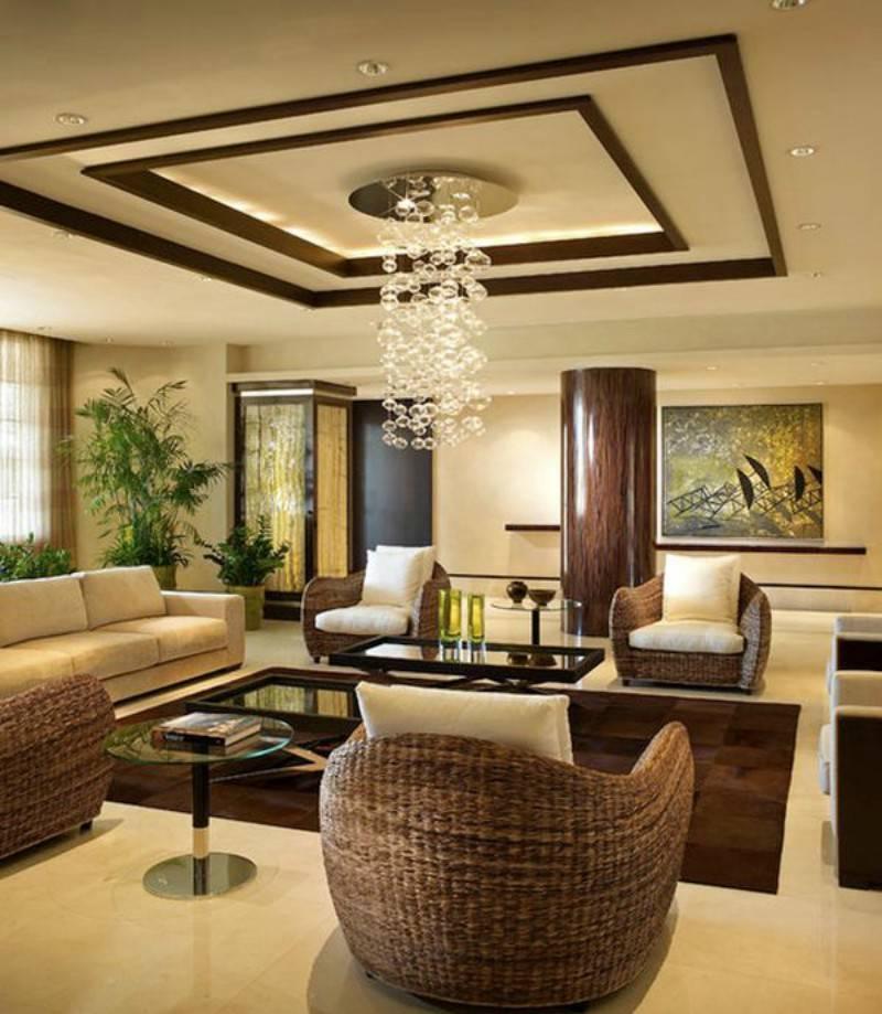 Дизайн потолка в гостиной - фото идеального оформления в интерьере