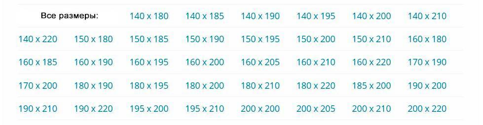 Стандартные размеры матрасов для одно-, двуспальной и полуторной кровати