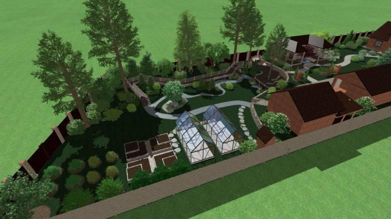Планировка участка 20 соток с домом и баней и хозпостройками и огородом, ландшафтный дизайн  - 21 фото