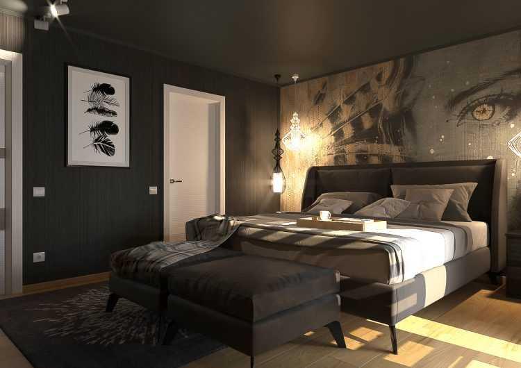 Черная спальня: топ-100 фото эксклюзивного и стильного интерьера спальни в темных тонах