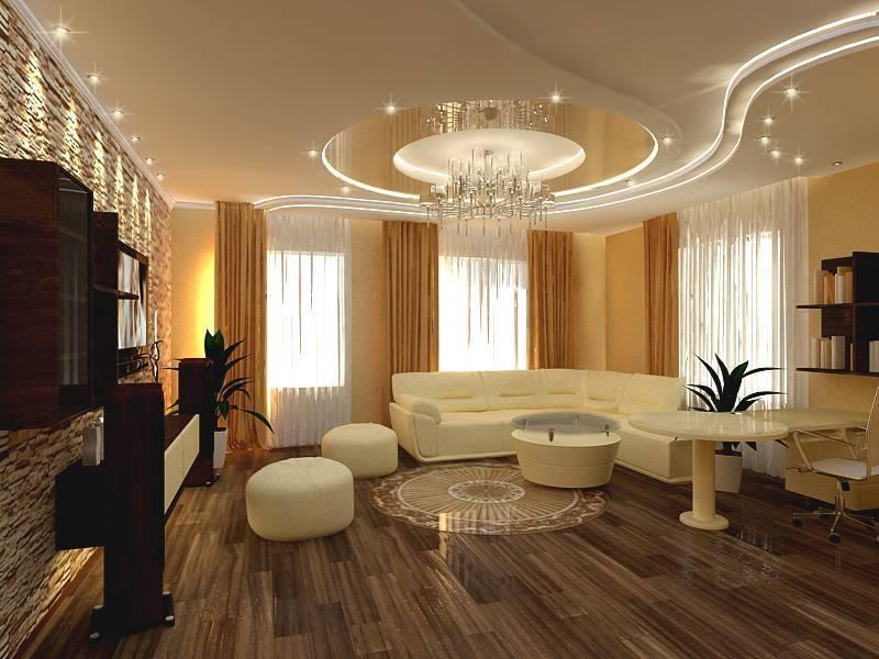 Потолок в гостиной: разновидности, способы отделки