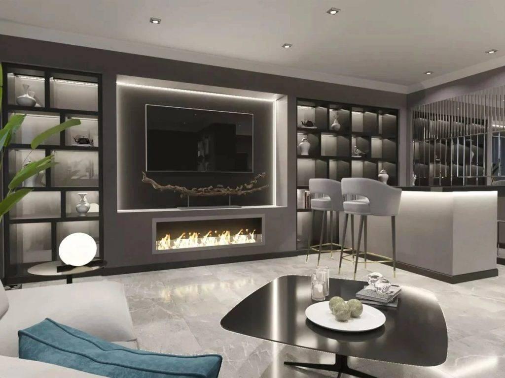 Дизайн гостиной с камином и телевизором в интерьере квартиры и загородного дома, конструкции с искусственным камином
