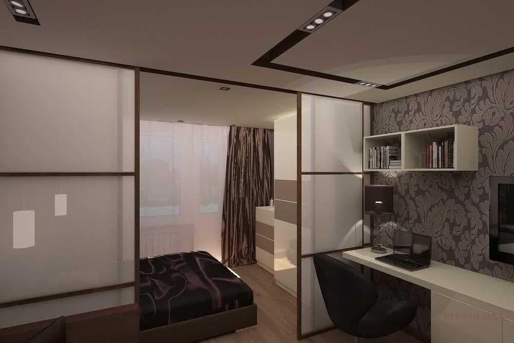 Спальня и гостиная в одной комнате: 108 фото идей зонирования
