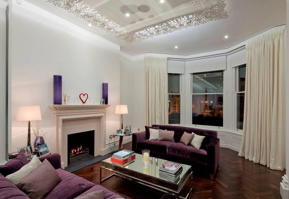 Гостиная в фиолетовом цвете: идеи для дизайна и правила сочетания тонов