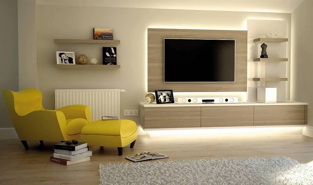 Варианты выбора и оформления стенок в гостиную под телевизор