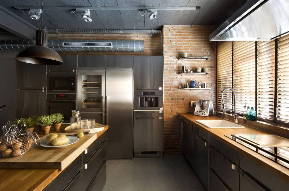 Кухня в стиле «лофт» (85 фото): варианты дизайна, выбор модульного кухонного гарнитура для интерьера и других элементов