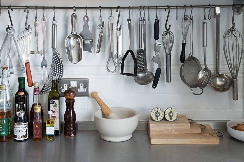 Рейлинги для кухни, виды и харакеристика - фото примеров