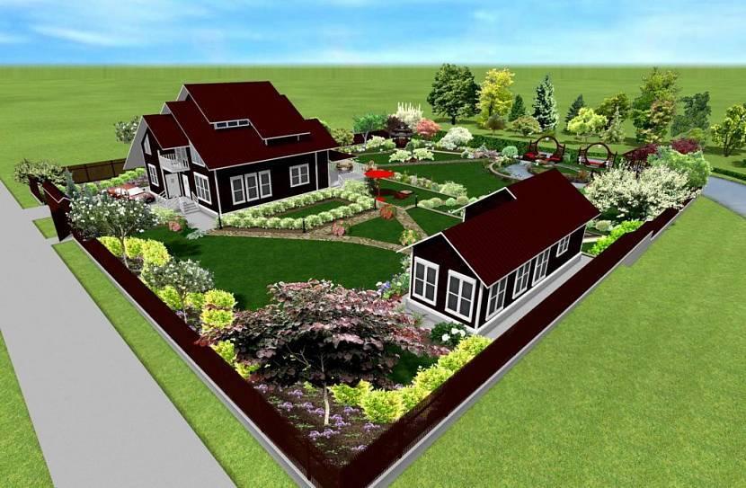 Участок 5 соток: планировка, примеры с домом и баней, ландшафтный дизайн и зонирование  - 46 фото