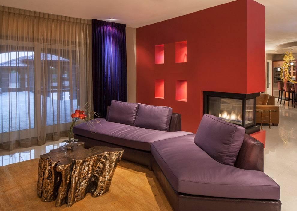 Создание дизайна гостиной в фиолетовых тонах и правила сочетания цветов