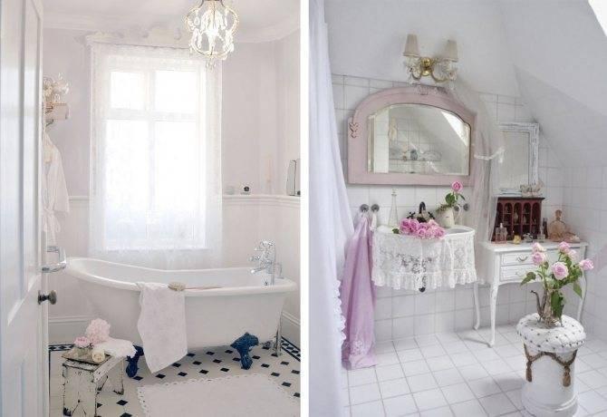 Плитка шебби шик в интерьере ванной комнаты: 30+ фото