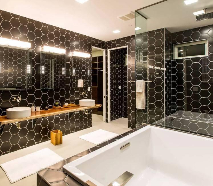 Дизайн плитки в ванной комнате - 100 фото примеров