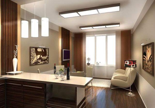 Световой дизайн освещения в кухне-гостиной