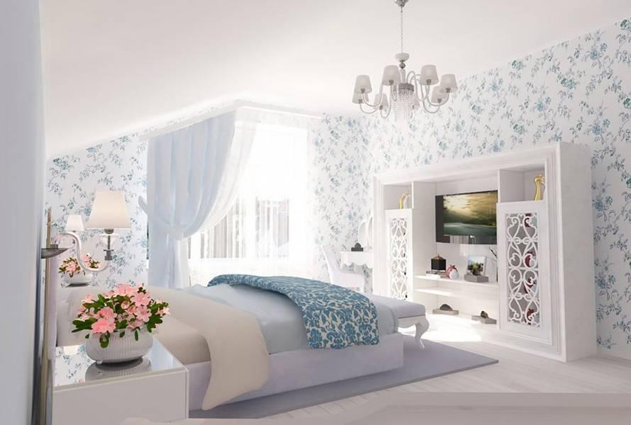 Обои в интерьере спальни (100 фото) - реальные новинки дизайна
