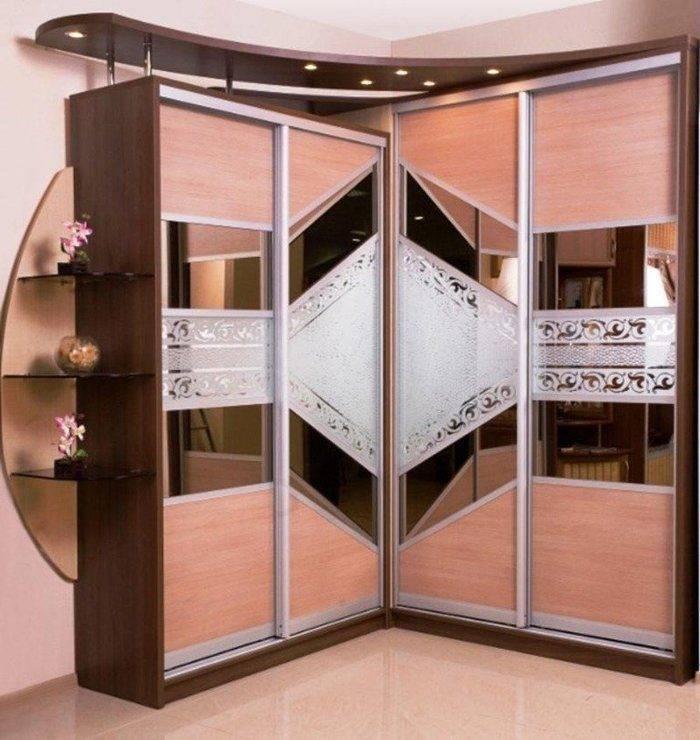 Угловые шкафы-купе в гостиную (40 фото)