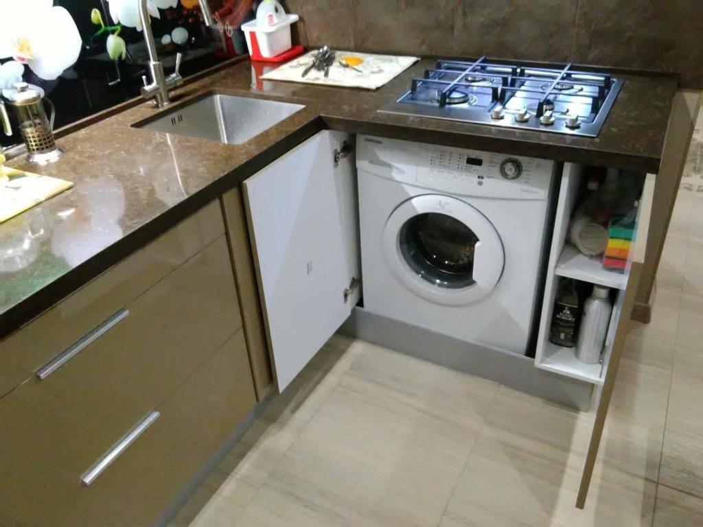 Стиральная машина на кухне (38 фото): плюсы и минусы установки машинки. как спрятать в интерьере кухни и разместить под раковиной? примеры дизайна