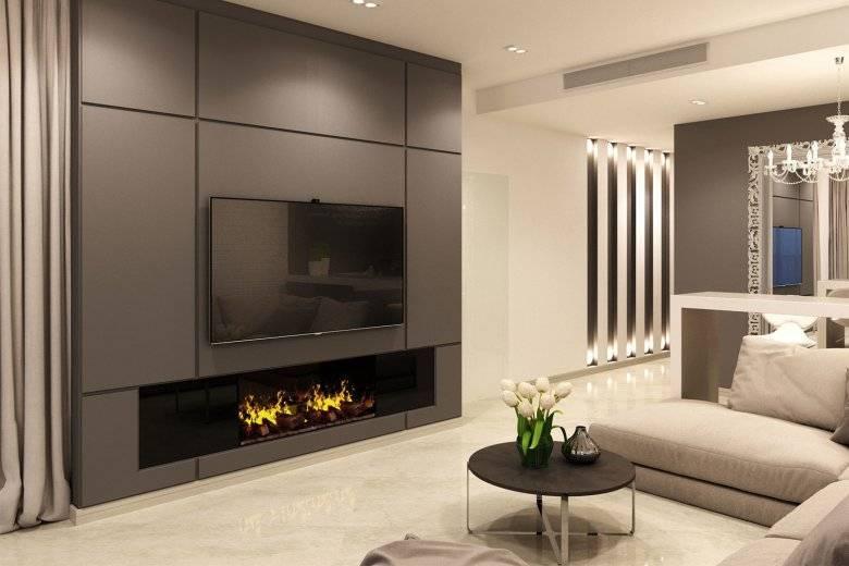 Современный дизайн гостиной с камином: стили и варианты