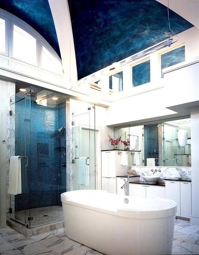 Лучший натяжной потолок в ванной комнате - 130 фото примеров стиля