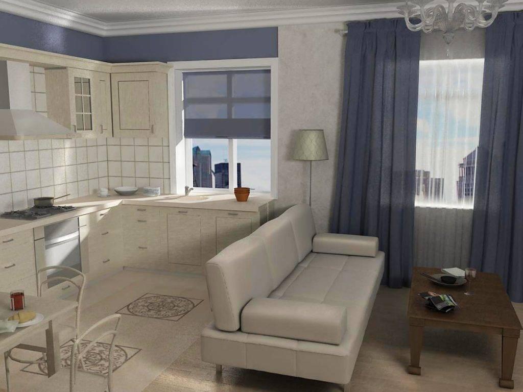 Варианты дизайна кухонь-гостиных 9 кв. м с диванами