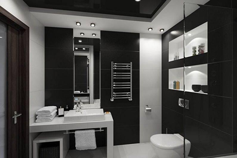 Стильный и универсальный дизайн ванной комнаты в черно-белых тонах