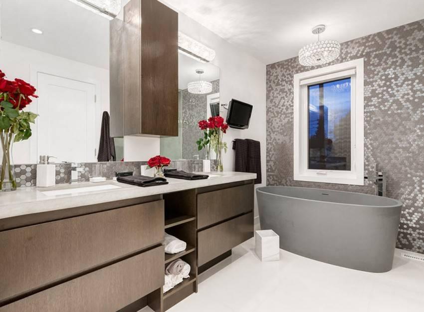 Дизайн ванной комнаты 2021 - модные идеи оформления [47 фото]