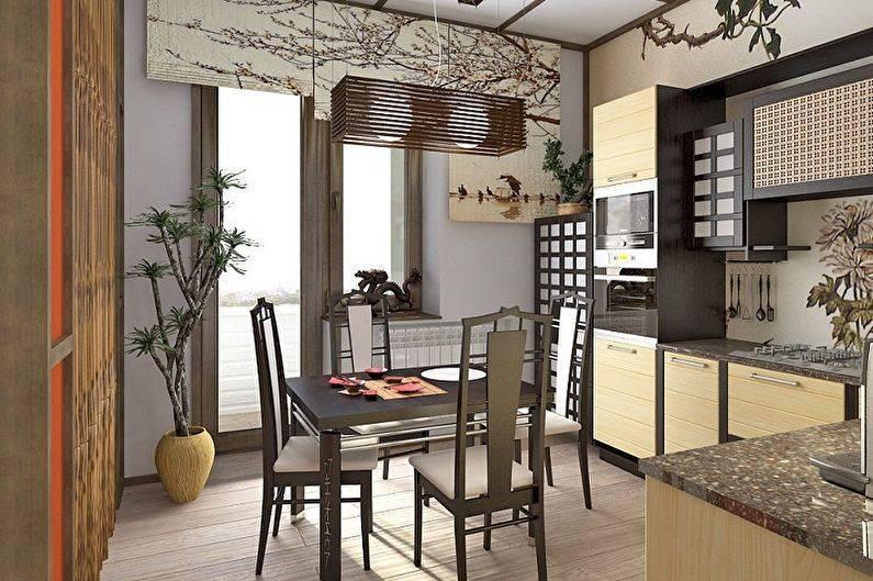 Дизайн интерьера умной кухни в японском стиле