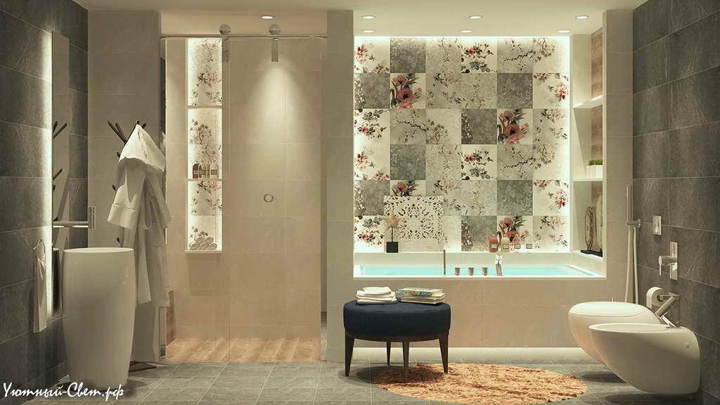 Дизайн укладки плитки в ванной +75 фото примеров и способов