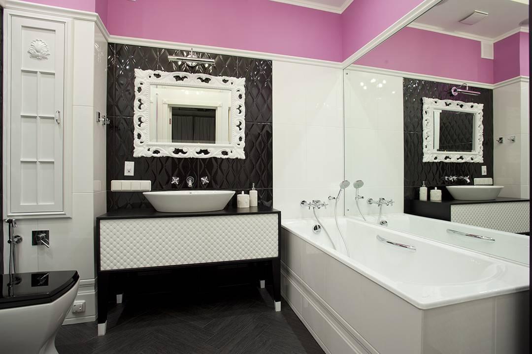 Черно-белая ванная комната: варианты дизайна