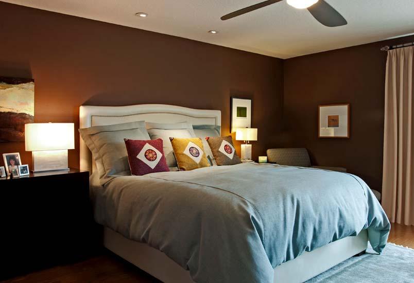 Дизайн спальной комнаты в коричневых тонах
