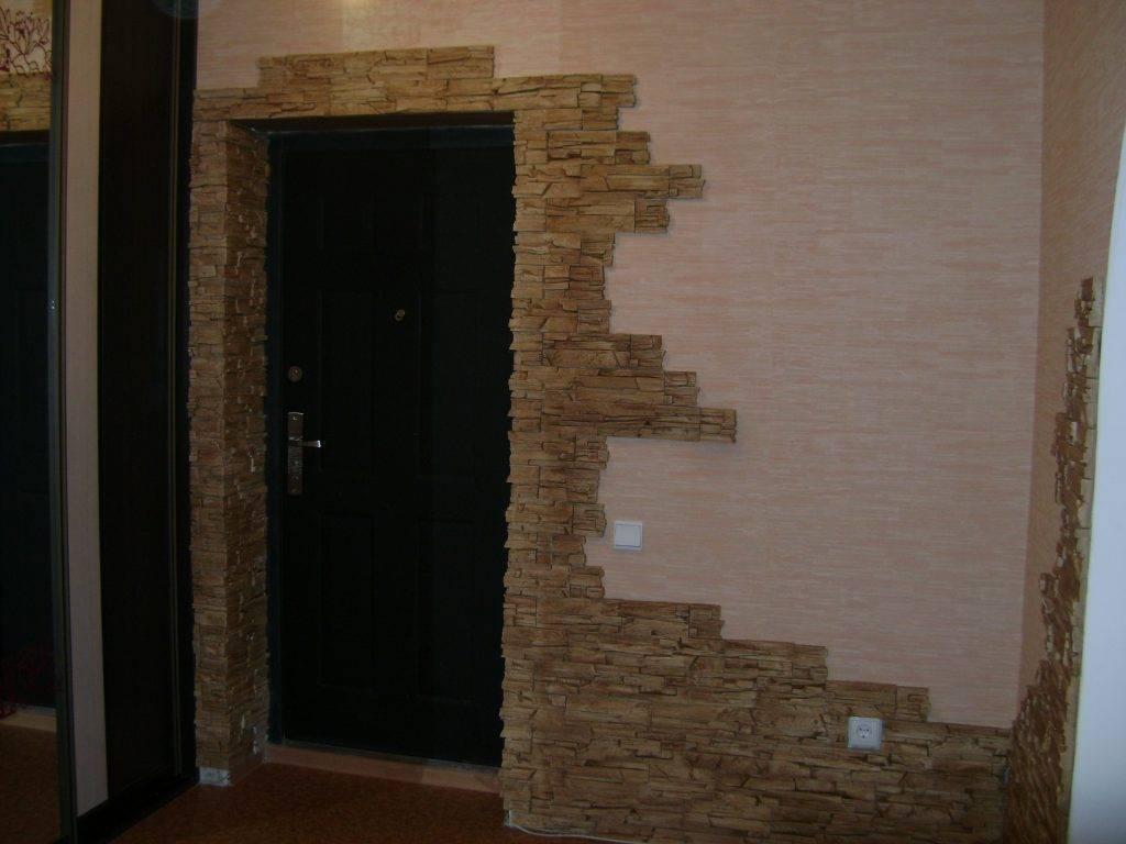 Порядок работ по отделке входной двери декоративным камнем