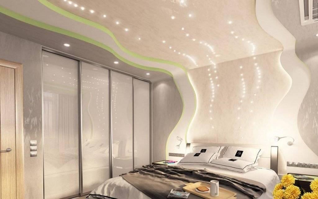 Двухуровневые натяжные потолки с подсветкой (56 фото): двухуровневые потолочные покрытия из гипсокартона со светодиодным освещением