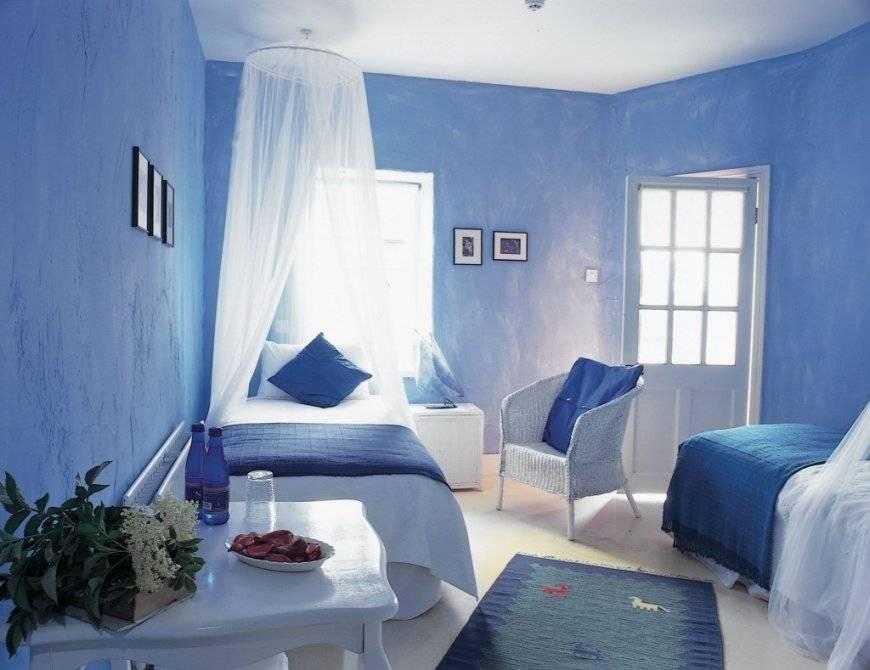 Голубой цвет стен в интерьере - 75 фото идеального дизайна