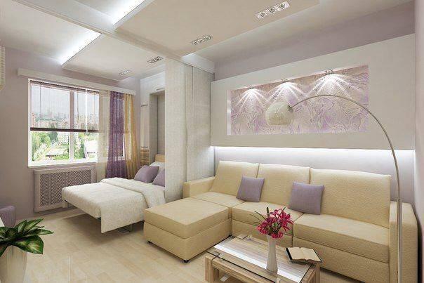 Дизайн спальни и гостиной в одной комнате: идеи совмещенного интерьера, вариант для площади 18 кв м + фото