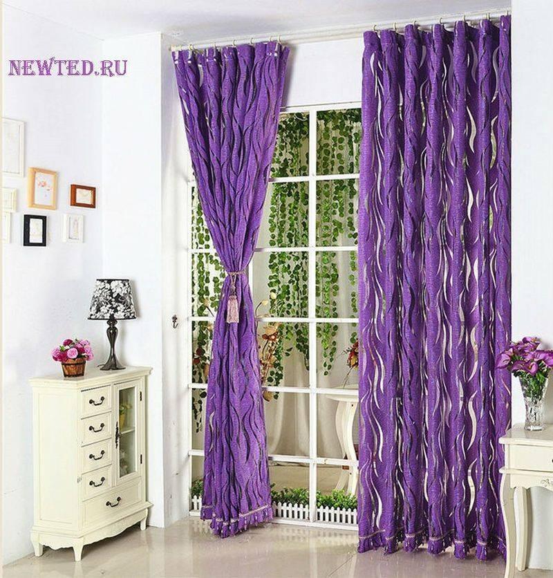 Сиреневые шторы (45 фото): занавески в интерьере для спальни, кухни и гостиной
