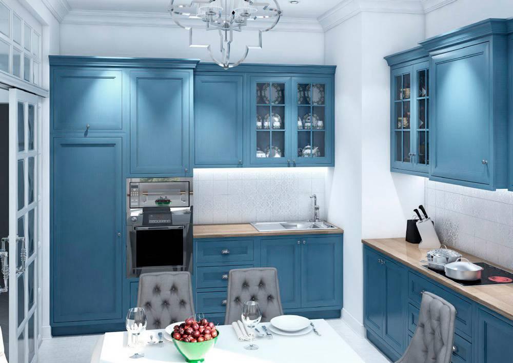 Кухня в голубых тонах: интерьер маленькой кухни