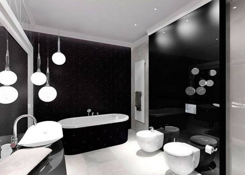 100 лучших идей дизайна: черно - белая ванная комната на фото