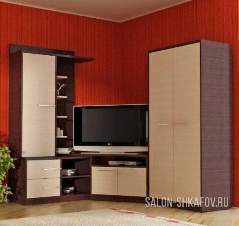 Угловая стенка в гостиную: модели, особенности и 24 фото