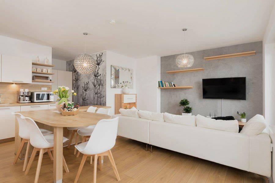 Дизайн кухни-гостиной 20 кв. м (22 фото интерьеров)