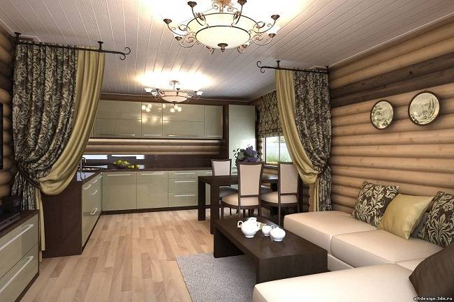 Гостиная в деревянном доме: простые и оригинальные варианты дизайна интерьера