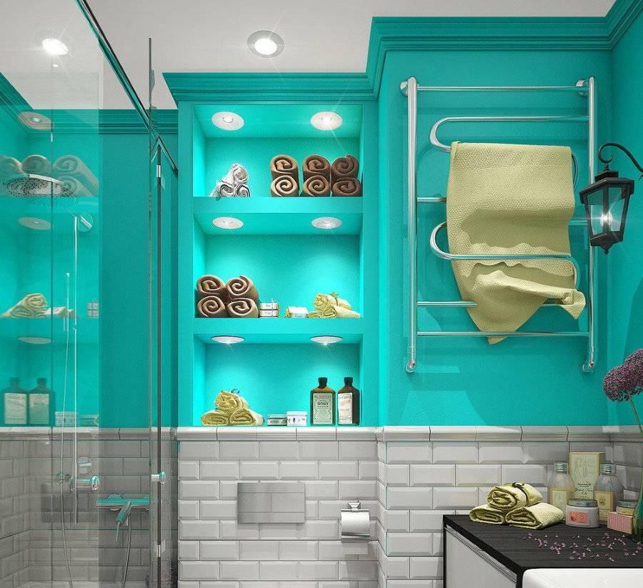 Дизайн ванной комнаты бирюзовых тонов