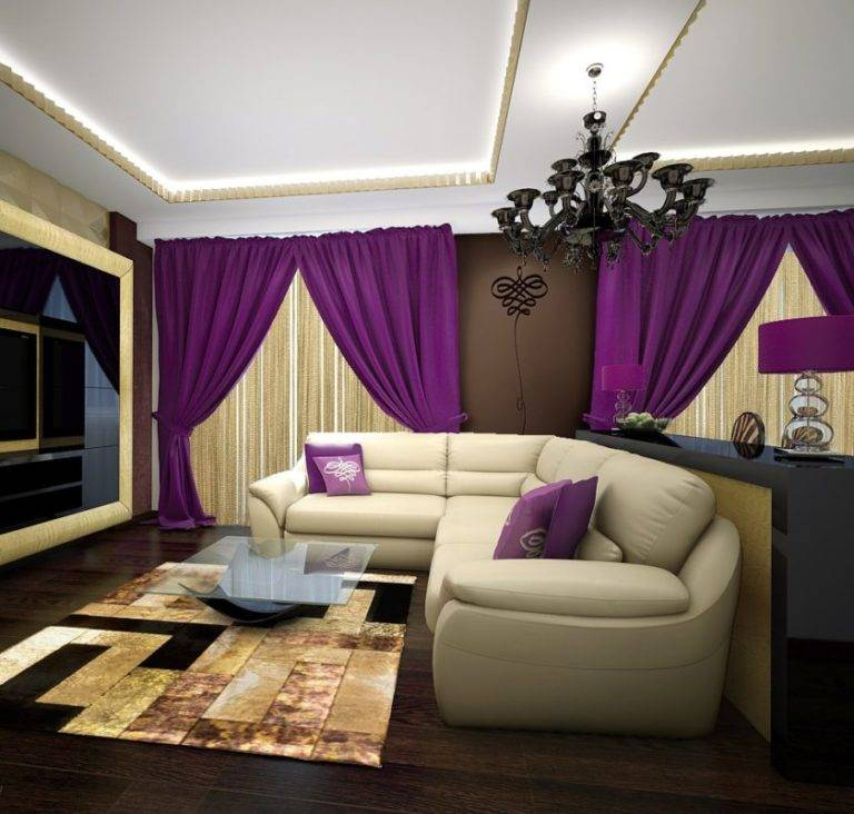Фиолетовый диван, сиреневый — как подобрать шторы под цвет обивки?