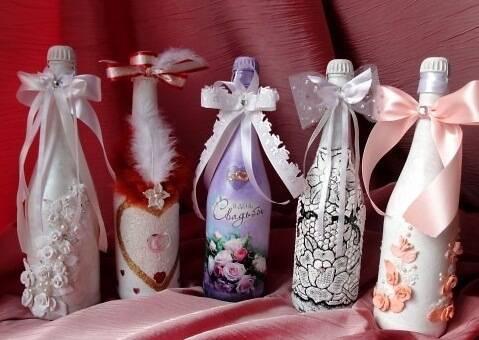 Декупаж бутылки своими руками салфетками, бумагой, колготками, яичной скорлупой. декупаж бутылки для мужчины, день рождения, на свадьбу, идеи с фото