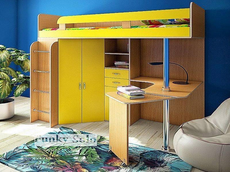 Кровать-чердак с рабочей зоной: 165+ (фото) возможных моделей