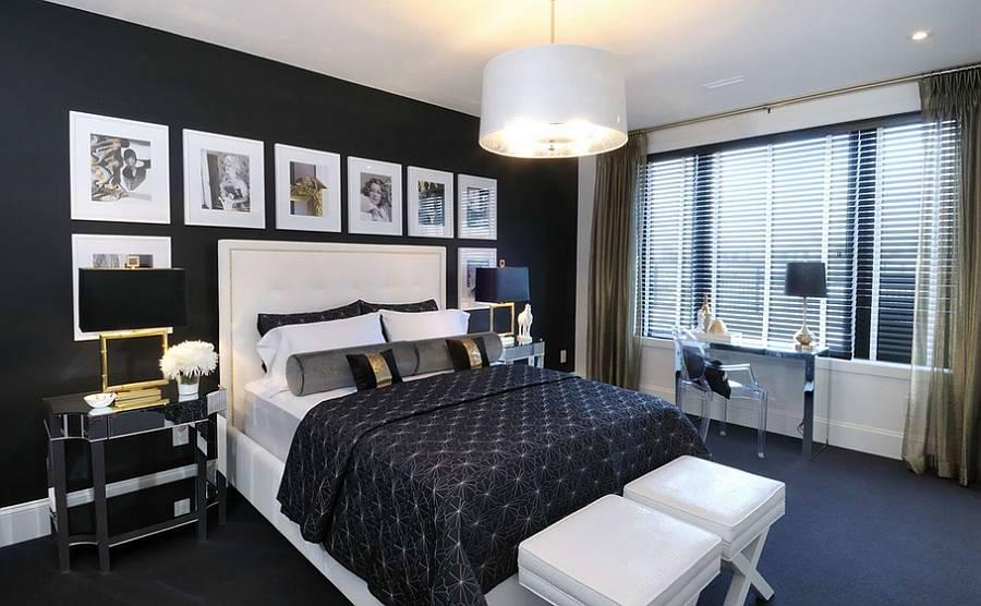 Черная спальня: 125 фото дизайна и подбор цветовых решений в черных тонах