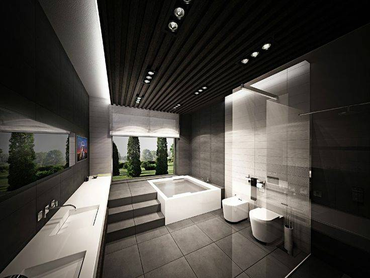 Современный дизайн интерьера ванных комнат в стиле хай-тек