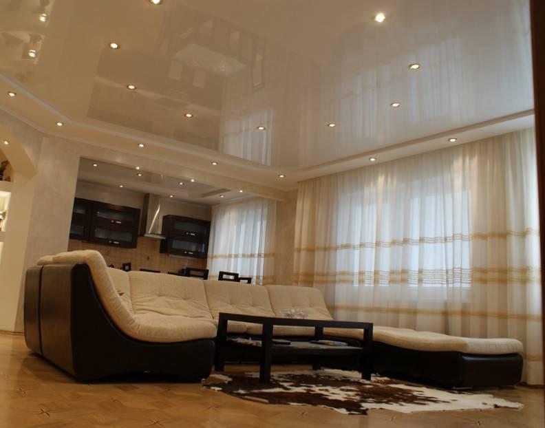 Интересные виды и варианты натяжных потолков для зала