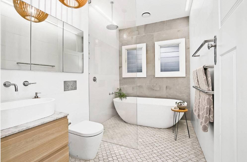Ванная комната в современном стиле: идеи на фото, красивый и модный интерьер, выбор плитки эконом-класса