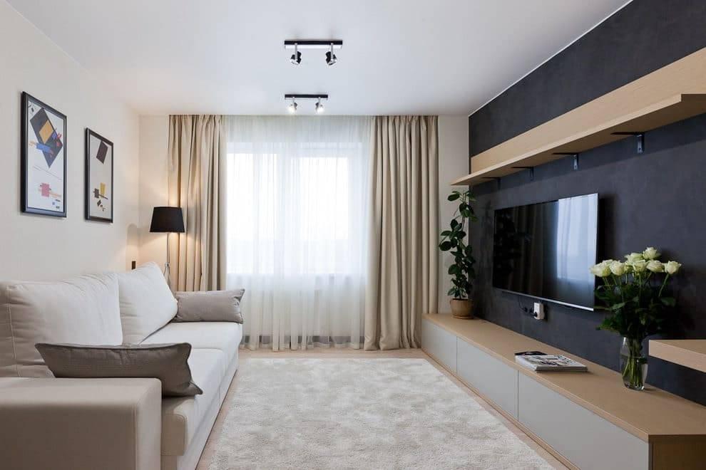 Интерьер гостиной 18 кв м, идеи - фото примеров